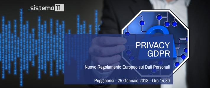 Evento: Nuovo Regolamento Europeo sulla Privacy – GDPR – 25/01/2018 Poggibonsi Ore 14,30